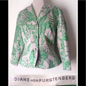 DIANE VON FURSTENBERG Jacket Size 8 Silk Blend Tan